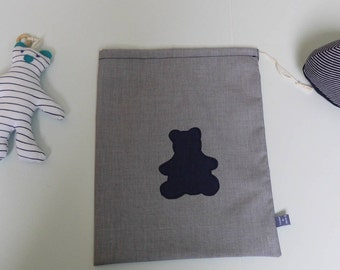 blanket, snack bag, toy bag purse personalized Teddy bear pattern
