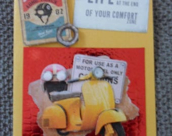 """Yellow Vespa"" 3D card"