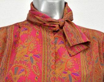 Vintage Stuart Lang 8 Bright Paisley Blouse Built in Scarf