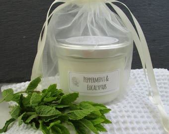 Peppermint and eucalyptus scented soy candle