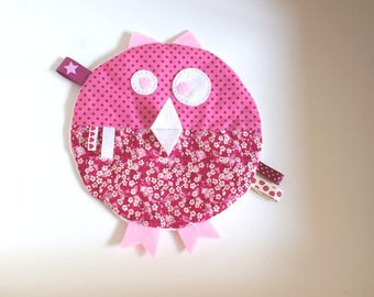 Plush pink OWL tags