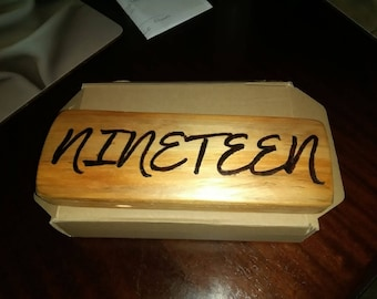 Custom Made, House number/name plaque from reclaimed wood then burned using pyrography pen