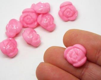 8x Cute Light Pink Rose Plastic Buttons 13mm Shank Buttons
