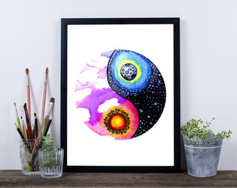 Yin and Yang Galaxy Sun and Moon Original Watercolor Art Painting Print