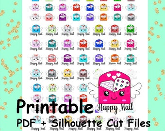 Happy Mail Printable Planner Stickers, Mail Planner Stickers, Silhouette Cut Files, Printables, Kawaii Printable Stickers, Cute Stickers