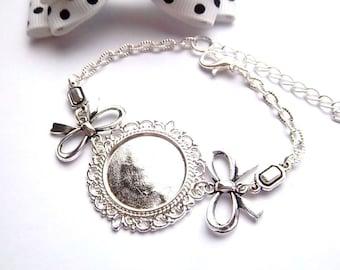 Support ethnic silver bracelet 20mm, BowTie, rectangle cabochon