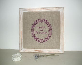Embroidery on natural linen wall decor