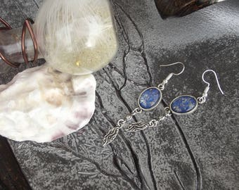 "Earrings silver dangle hooks, charms and small oval glass cabochon motif ""paint stains"" silver, bronze and blue"