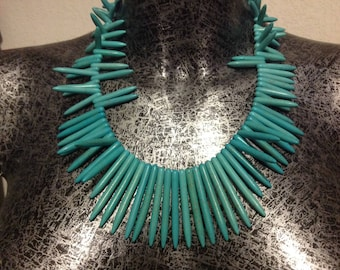 Howlite Turquoise ethnic necklace