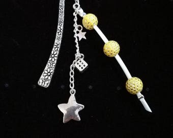 Jewel bookmark in silver, yellow beads with Rhinestones, star of