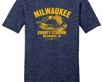 County Stadium 1970 Baseball Tee Shirt - Past Home of Your Milwaukee Brewers