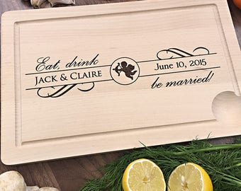 Eat, Drink & Be Married - Personalized Cutting Board, Personalized Wedding Gift, Unique Gift For Newlyweds, 5th Anniversary Gift Idea