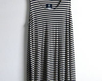 90's Black and White Striped dress Bridget Riley + Debbie Harry + 1990's Rave SZ M