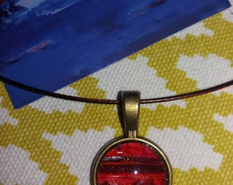 Small red pendant and his Brown cable Choker