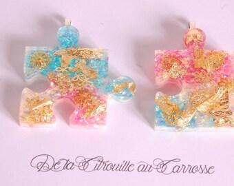 Collier de l'Amitié, puzzle, rose, bleu et blanc