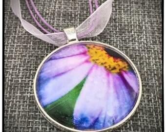 Purple Daisy Photo Pendant with Purple Ribbon