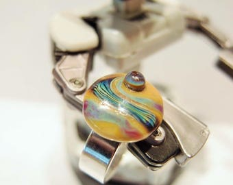NES'spoon Cabochon ring in spun glass / glass cabochon ring spun