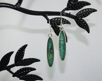 EARRINGS enamel turquoise, Silver 925 guaranteed