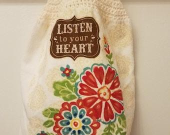 Designer Listen to Your Heart Hanging Towel