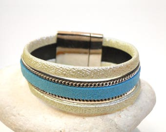 Cuff leather 3 row turquoise ivory