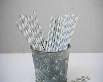 Set of 25 paper straws paper (white with silver stripes)