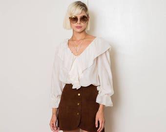 Suede High Waist Snap Front Skirt 70s