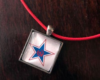 Communist Party of the United States of America (CPUSA) inspired glass pendant!