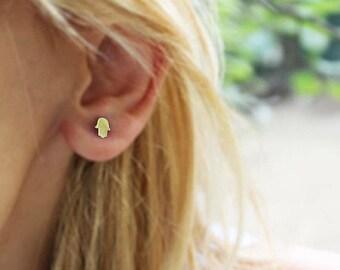 14K Gold Hamsa Earrings / Gold Earrings Available in 14k Gold, White Gold or Rose Gold