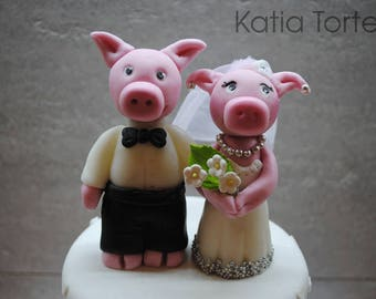 Wedding Pigs Fondant Cake or Cupcake Toppers (2 pcs). Handmade and Edible Pets