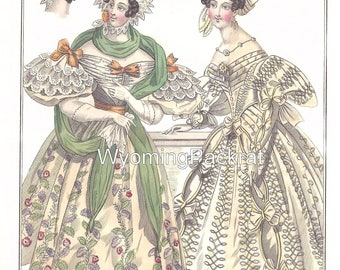 """Digital Download of Fashion Plate: """"Costumes Parissiens"""" from 1833   Beautiful 1830's style. (Three versions available)"""