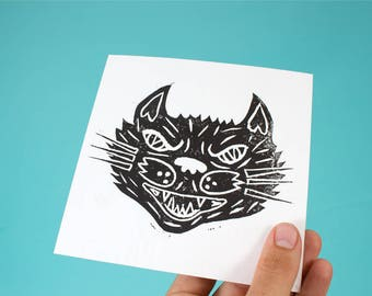 Black Cat Linocut Block Print
