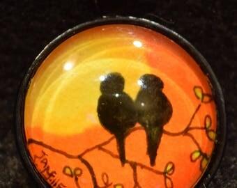 Love Birds in Sunset Pendant