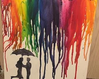 Couple in a Colorful Rain