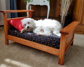 Dog Bed - All Wood Dog Bed / Cat Bed/ Pet Bed With Cushion Good For Puppy Bed or Kitty Bed - Dog Furniture from KCsComfyPets