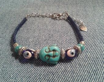 Turquoise laughing door happy Buddha bracelet