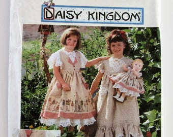 Simplicity 7029 Daisy Kingdom Girl's Matching Doll Dress Pattern 3, 4, 5, 6 Unused Vintage Sewing Pattern