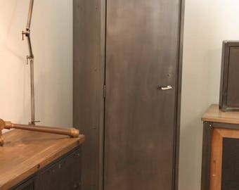 Cabinet industrial column design metal Roneo Ptt 1961 Vintage