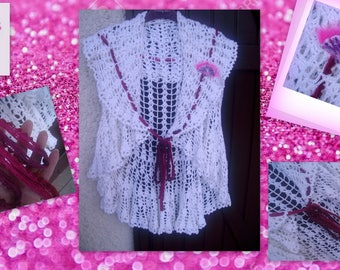 BEAUTIFUL white cotton VEST and PIN.