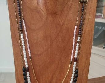 Long triple leather and pearls