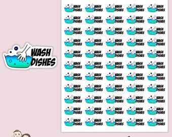 WASH DISHES REMINDER | Planner Stickers | Remember | Clean | washing | Schedule | Cleaning | Erin Condren |   | S93