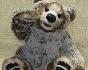 Realistic bear, teddy bear, OOAK, FLUFFY, moveable mouth, 35 cm, artist teddy bear, 13.8 inches FREE shipping
