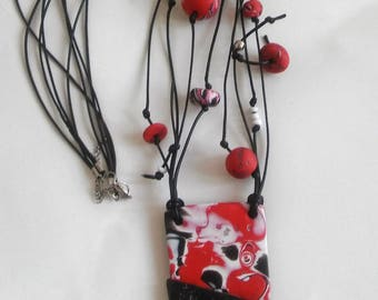 Polymer Clay Necklace, Multistrand Necklace, Large Pendant Necklace, Handmade Necklace, Statement Jewelry, Gift for Her, Red,Black,White