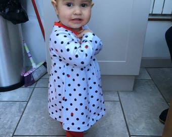 Ladybird Dress and leggings set, kid's clothes, girls clothes, dresses, leggings, baby girl clothes, long-sleeved dress, 0-4 years