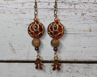 Earrings charm and beads