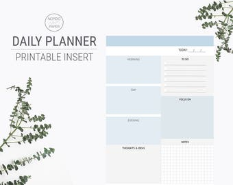 Printable Daily Planner, A4 Size, Printable Planner Insert, Blue Planner, Printable Page Planner, Daily Planner Inserts, A4 Planner, Journal