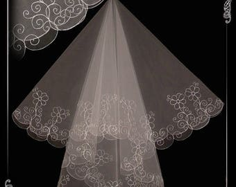 Wedding veil, veil for wedding, embroidered veil N 61.