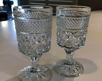 2 Vintage clear crystal stemware glasses Anchor Hocking