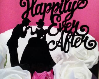 Happily Ever After Cake Topper- Wedding Cake Topper -Custom Cake Topper- Personalized Cake Topper