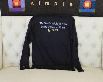 Women's V Neck Long Sleeve Shirt