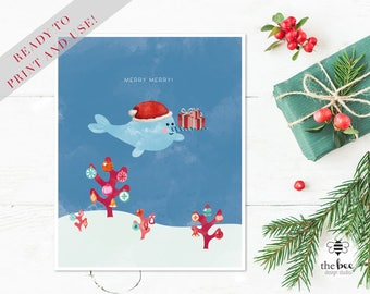 Merry Christmas Narwhal Card Printable.  Tarjeta Navideña imprimible